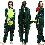 SSM Tier Pyjama Onesies Fasching Halloween Kostüm Schlafanzug Cosplay Pyjama Unisex Erwachsene Damen Karneval Einteiler Dinosaurier M