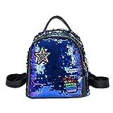 SODIAL Mochila de mujer Bolsas de escuela para ninas Mochilas pequenas Mochila de viaje femenina Mochilas de escuela de lentejuelas Azul