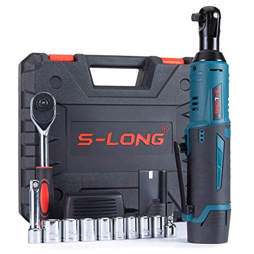 """S-LONG Cordless Electric Ratchet Wrench Set, 3/8"""" 400 RPM 40 Ft-lbs 12V Power Ratchet Driver with 10 Sockets, 2000mAh Lithium-Ion Battery and 60-Min Fast Charge"""