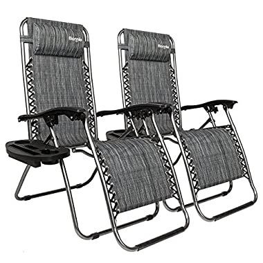 Bonnlo Infinity Zero Gravity Chair, Outdoor Lounge Patio Chairs with Pillow and Utility Tray Adjustable Folding Recliner for Deck,Patio,Beach,Yard Pack 2 (Gray)
