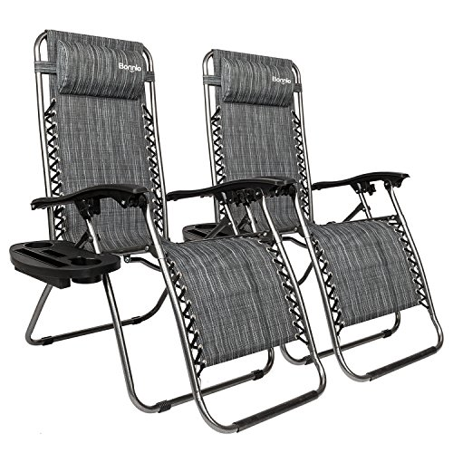 Bonnlo Infinity Zero Gravity Chair, Outdoor Lounge Patio Chairs with Pillow and Utility Tray Adjustable Folding Recliner for Deck,Patio,Beach,Yard Pack 2(Grey)