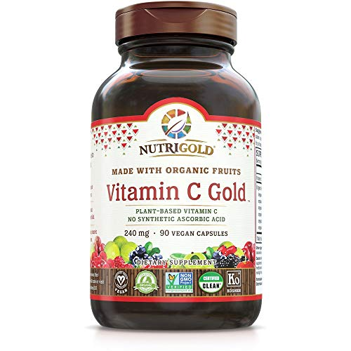 Organic Vitamin C Gold, Whole-food Vitamin C Supplement from Organic Berries and Fruits - NOT Synthetic Ascorbic Acid, 240 mg, 90 Capsules (Corn-free, Certified Organic, Vegan, Kosher, Non-GMO) -  NutriGold