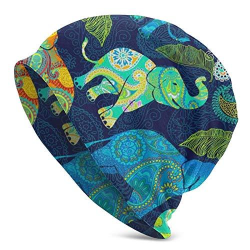 (N/A) Gorro de punto con estampado 3D para adultos, diseño de elefante asiático, cachemira, gotas de lluvia, color negro