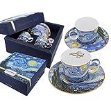 Carmani - Tazza da caffè con piattino Set di 2 con 'A Starry Night' di Vincent Van Gogh 1...