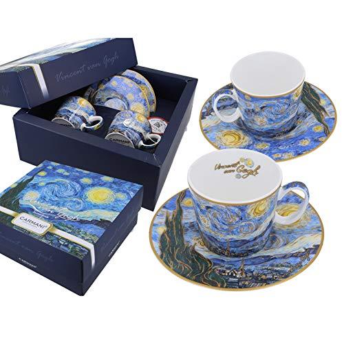 Carmani - Tazza da caffè con piattino Set di 2 con 'A Starry Night' di Vincent Van Gogh 125 ml
