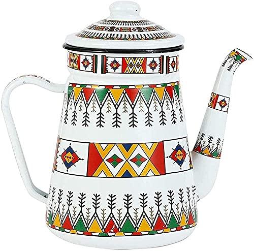 Tetera de café esmaltada, estilo retro, 1 5, color rojo, termo para estufa de inducción y estufa de gas, color blanco
