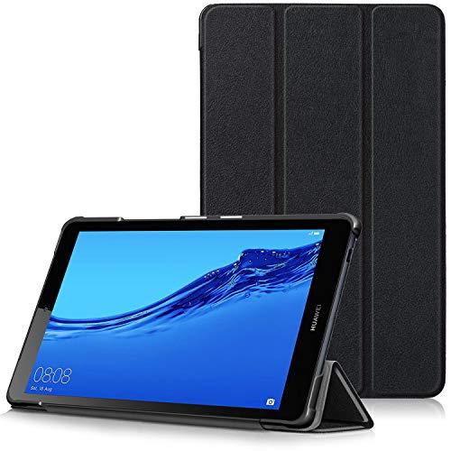 TTVie Hülle für Huawei MediaPad M5 Lite 8 - Ultra Dünn & Leicht PU Leder Schutzhülle mit Standfunktion für Huawei MediaPad M5 Lite 8 Tablet-PC (20,3 cm, 8,0 Zoll) 2019 Modell, Schwarz