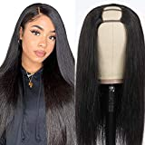 Afro Echthaar Perücke Schwarz Frauen damen Lang Perücke glatt hair U Part Half Human Hair Wigs for Black Woman Real Virgin Human Straight Wigs Haarverlängerung Echthaar