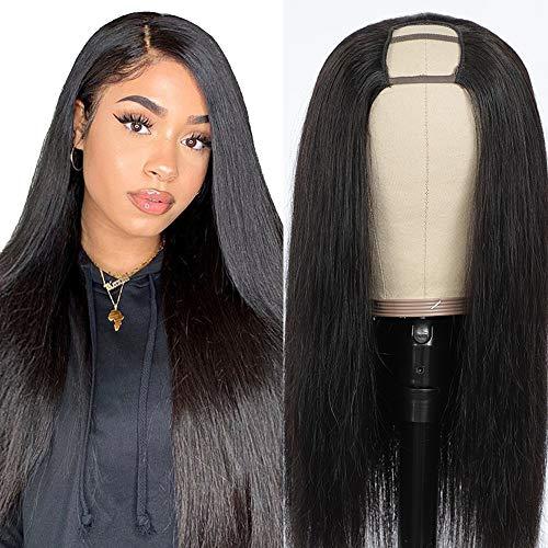 Peluca Negra Larga Lisa Extensiones De Pelo Natural Softly Pelucas Mujer Pelo Cabello U Part Half Human Hair Wigs Humano Pelucas for Black Woman Real Virgin Straight wigs