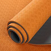 YOGA MATS by Panda Kit.Large,non-Slip &textured - SIZE 173CM LONG*61CM WIDE - 6MM THICK. Quality CARRY STRAP INCLUDED. Excellent for yoga, Pilates and exercise.Orange, eco -friendly and PVC FREE made from 100% TPE material, Panda kit yoga mats are durable EXCELLENT cushion for your exercise & yoga sessions at home or your local gym. Easy to travel with and great feel.