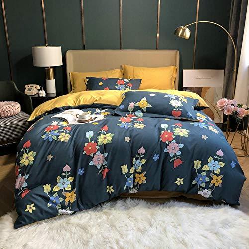 -Temporada de primavera y verano Norte de Europa Peinado Seda Seda de cuatro piezas Sentido fresco de sábanas de seda Ropa de cama en la ropa de cama Día de la madre Regalo-L_1,8 m de cama (4 piezas)