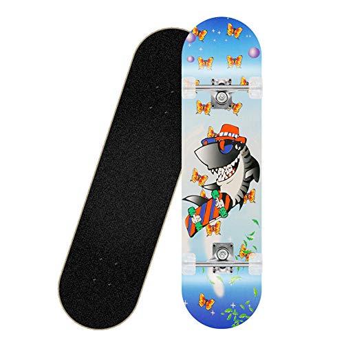 Komplettes Skateboard 80 * 20cm Ahorn Skateboard, geeignet für Erwachsene, Kinder, Jungen und Mädchen-Hai