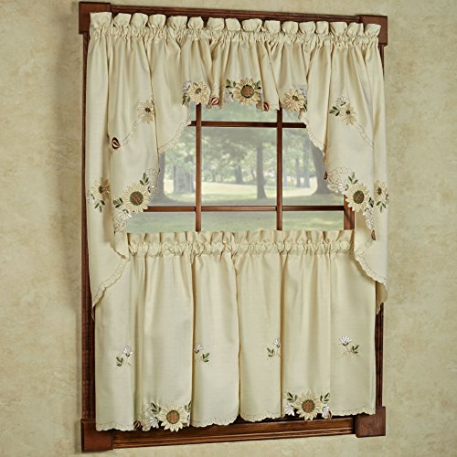 "Sweet Home Collection 5 Pc Kitchen Curtain Set, Swag Pair, Valance, Choice of 24"" or 36"" Tier Pair"