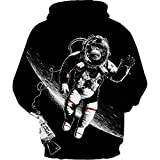 Sudadera 3D,Pareja impresión Digital béisbol Uniforme Gran Bolsillo orangután Astronauta, XXL/XXXL
