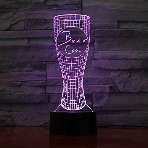 Forma de jarra de cerveza 3D Lámpara Illusion Optical LED Nightlight 7 colores interruptor de control táctil con cable USB Mesita de noche Dormitorio Mesa Luz nocturna Novedad Regalo de cumpleaños de