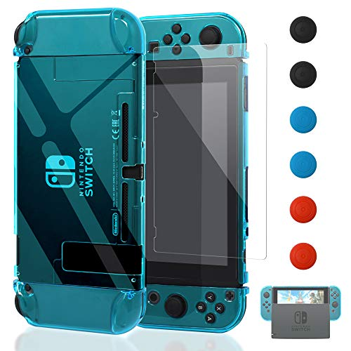 Dockable Case for Nintendo Switch [Updated], FYOUNG Nintendo Switch Hard Case and and Screen Protector Joy-Con Controller (clear blue)