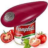 Abrelatas eléctrico, abridores de latas eléctrico con manos libres, para restaurante de cocina, diseño ergonómico, libre de mano de obra manual para Artritis Senior Home Gadget (rojo)