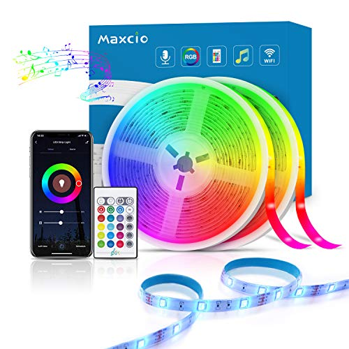 Alexa Tira LED RGB Wifi, Maxcio Tira LED Regulable Control de Voz y APP, Google Home Tira LED Sincroniza con la Música, 16 colores 300 Leds con Control Remoto, Decorativas para Fiesta, 10 metros