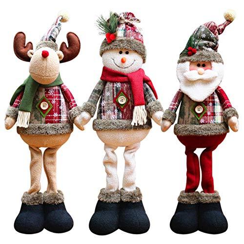 xuelili Decorazioni per Finestre Ornamenti per Alberi di Natale Xmas Babbo Natale Pupazzo di Neve Elk Doll