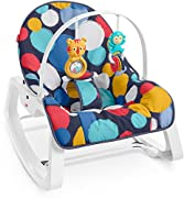 Converts from rocker to baby seat for feeding or lounging Calming vibrations calm soothe baby Toy bar includes two hanging toys for playtime Soft goods are machine washable and dryer safe Reclining canopy provides comfort for newborns Other Body Feat...