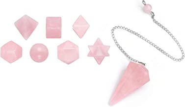 CrystalTears Healing Crystals, Rose Quartz Pendulum,7 Stones Sacred Geometry Platonic Solids with Merkaba Star Set, for Divination,Meditation,Reiki Balancing
