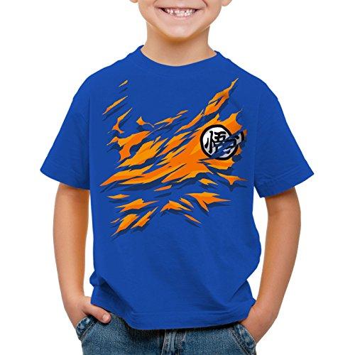 style3 Poitrine Goku T-Shirt pour Enfants Songoku Dragon z Super Saiyan Turtle Ball, Couleur:Bleu, Taille:104
