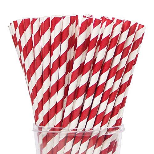 Webake 200 Cannucce di Carta Biodegradabili da 6 mm, per Cocktail, Bevande Fredde, Succhi, Feste, Matrimoni, Compleanni - Rosso e bianco