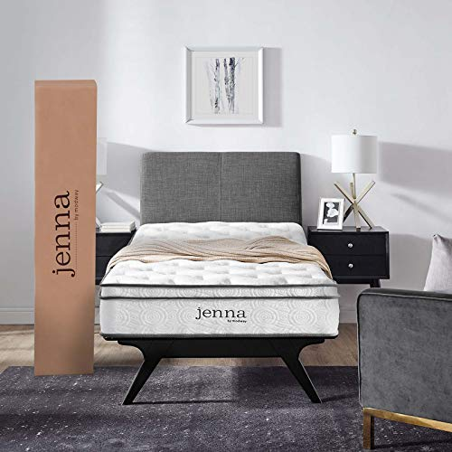 """Modway Jenna 8"""" Twin Innerspring Mattress - Top Quality Quilted Pillow Top - Individually Encased Pocket Coils - 10-Year Warranty"""