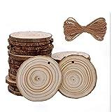 Rodajas de Madera Natural Círculos 6-7 cm 30pcs Discos de Madera Redonda Maderas Naturales Perforado con Corteza de Árbol,10 m Cuerda de Cáñamo