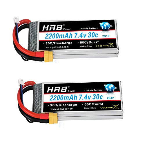 HRB 2pc 2200mAh 7.4V 2S 30C LiPo Batería con Enchufe XT60 Compatible con RC Traxxas 1/16 E-Revo VXL Summit Slash Losi 1/14 Mini 8ight y RC Cars