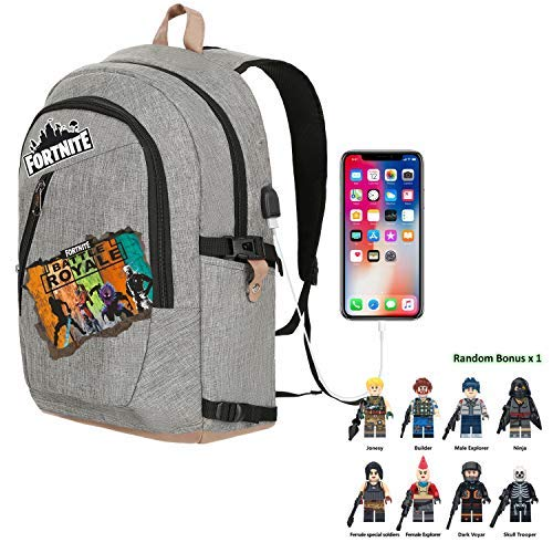 Battle Royale Premium Backpack with Bonus Fans Cap Hat School Bag Notebook Daily 15 inch Laptop Backpack (Office, Grey)