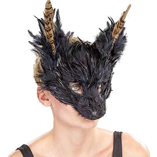 Amakando Geheimnisvolle Cosplay Maske Fabelwesen mit Federn / Schwarz / Fantasy Augenmaske Märchen gefiedert / EIN Blickfang zu Karneval & Maskenball
