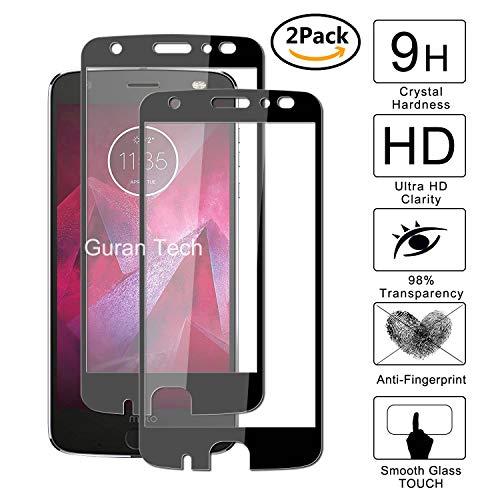 Guran [2 Paquete] Protector de Pantalla para Motorola Moto Z2 Force [Full Coverage] Vidrio Cristal Templado 100% Cobertura Completa Film - Negro