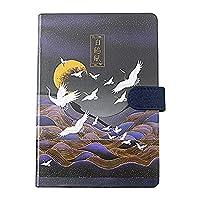 ホワイトクレーンカラーページ磁気ボタンノートブック学生色メモ帳日記 (style1)