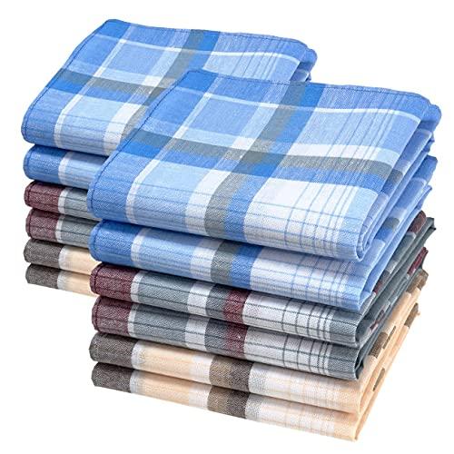 merrysquare - Traditionelle Männertaschentücher - Großes Format 40cm x 40cm - 100% Baumwolle - MAX Modell (x12)