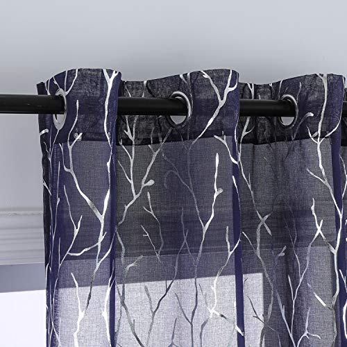Taisier Home Sheer Navy Blue Curtains 63 Inches Long - Silver Tree Branch Print Sheer Curtains for Living Room Grommet Top Tree Pattern Sheer Window Curtains 2 Panels,52 x 63 Inch,Silver and Navy