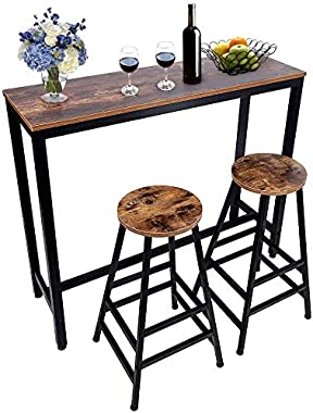 3-Piece Pub Bar Table Set, Industrial High Top Table with 2 Bar Stool Chair, MDF Board and Metal, Vintage Rustic Brown