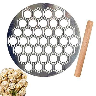Aiseo Pelmeni Maker Russian Ravioli Maker with Rolling Pin Handmade Dumpling Mold Set and Cutter,Metal Mold for Empanada Press,Pelmenitsa,Cavatelli,Perogie Press