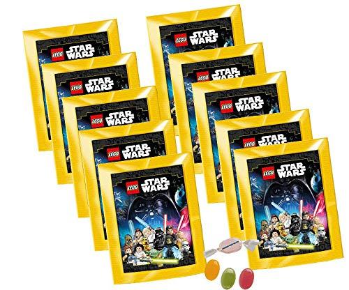 DE L.ego Star Wars Sticker 2020 - ( 10 Stickertüten ) zusätzlich 1 x Fruchtmix Sticker-und-co Bonbon