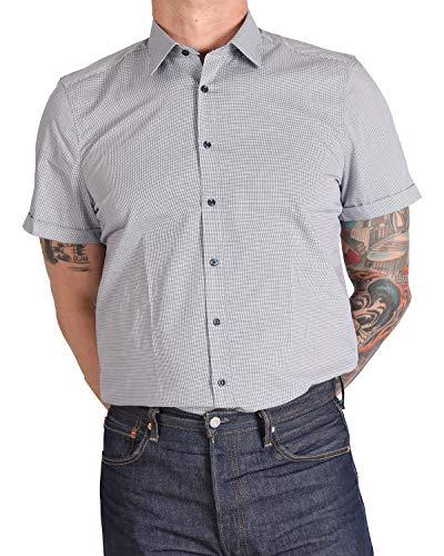 Marvelis Hemd, Halbarm, Body Fit, Blau Weiß kariert, Bügelleicht, New York Kent Kragen, 100% Baumwolle, Kragen ausgeputzt (40)