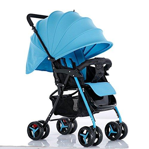NAUY @ Baby Trolley Alto Paisaje Se Puede Mentir Ultra-Ligero Portátil Plegable 1-3 Años De Edad Niño Bebé Ampliado Alargado De Dos Vías Carro De Bebé De Acero Tubo Paraguas Carro Trolley Oxford Paño