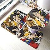 Lupin III Suite - Set di tappeti da bagno antiscivolo per soggiorno, tappetino da bagno+contorno+coperchio WC