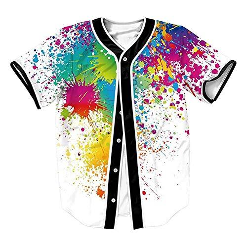 90s Hip-Hop Top for Men Women Unisex Baseball Jersey Short Sleeve Button 3D Tie Dye Graphic Urban Shirt for Theme Party White