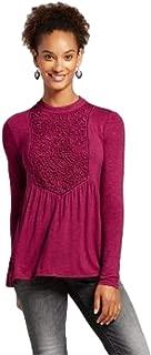 Xhilaration Women's Mockneck Lace-Piece Long Sleeve Knit Blouse