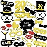 Bluelves 2021 Neujahr Fotorequisiten Fotoaccessoires, 32 Silvester Photo Booth Props Set, Verkleidung Mitbringsel Party Accessoires für Erwachsene Kinder Silvester Deko 2021 Neujahr Party Dekoration