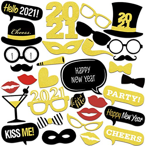 Bluelves 2021 Nochevieja Decoracion, Año Nuevo 2021, Año 2021 DIY Photo Booth Props Fotos Accesorios Photocall Decoracion, Nochevieja 2021 decoración de Fiestas, 32 Pcs