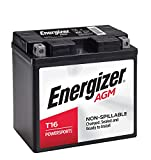 Energizer T16 AGM Motorcycle and Personal Water Craft 12V Battery, 260 Cold Cranking Amps and 19 Ahr. Replaces: T16 and others , Black