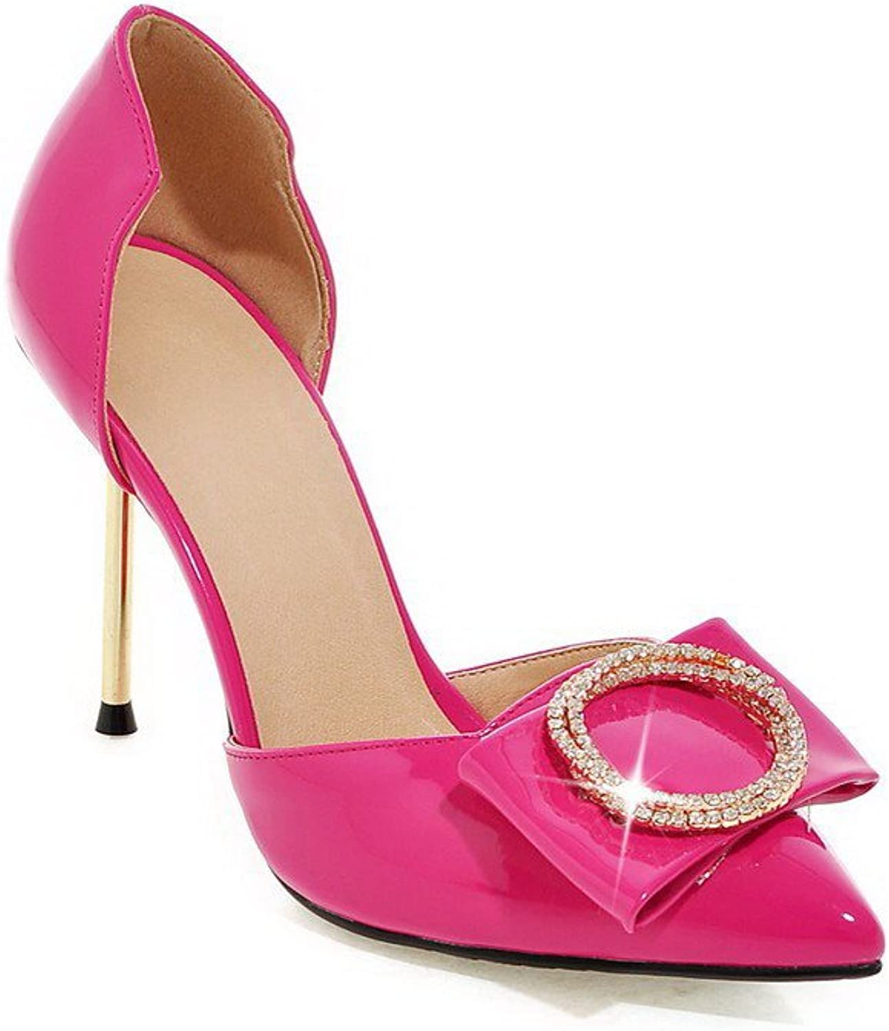 WeenFashion Women's Patent Leather Pointed Closed Toe High-Heels Pull-on Solid Sandals