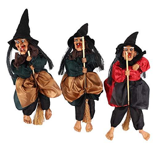 Moligh doll 3 StüCke Halloween H?Ngende Hexe Puppen Sprach Steuerung Prop Animierte Geist Unheimlich Reiten Besen Wand Behang Party Au?En Haus Dekoration Spielzeug