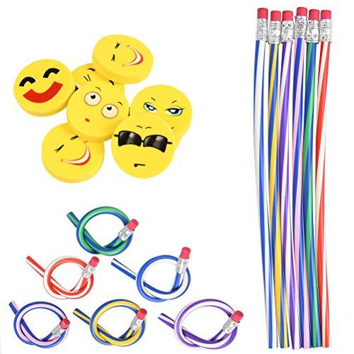 YANSHON Biegebleistifte und Radiergummis Set, 24 Stück Bunt biegsame Bleistifte und 24 Stück Emoji Smiley Radiergummis, Biegsam Biegebleistift für Kinder, Party